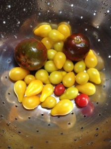 Heirloom Pears, Heirloom Husky Cherry and Heirloom Black Cherry tomatoes