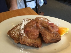 Cornmeal French Toast with Rhubarb Compote!
