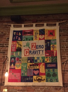 Quilt hanging in American Flatbread. It is an homage to their local draft beer selection!